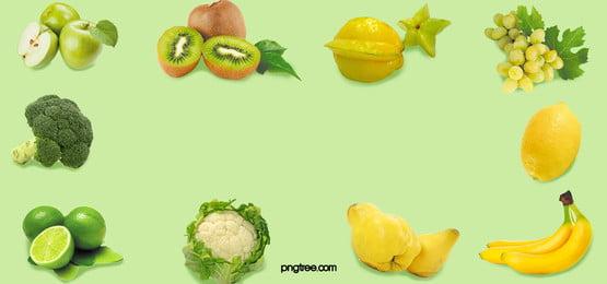 リアルフルーツと野菜のグリーン背景, 実を書く, 果物と野菜, 梨の子 背景画像
