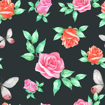 玫瑰和蝴蝶無縫圖案手繪水彩 , 摘要, 動物, 藝術 背景圖片