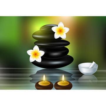 禅の石とフランジナニの花の概念 , アロマ, アロマセラピー, アーユルヴェーダ 背景画像