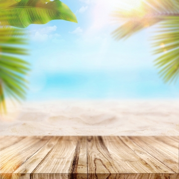 summer beach with wood table and palms , Sea, Leaves, Orange Background image