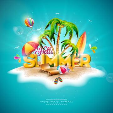 olá olá verão férias ilustração com carta de tipografia 3d em plantas tropicais de fundo azul oceano , Flor, Bola De Praia, Balão De Ar Quente Imagem de fundo