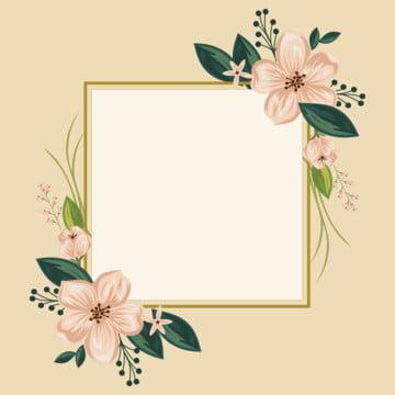 花金色框架 , 邊界, 豐富多彩的, 花的 背景圖片