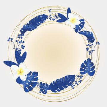 金環藍色花框 , 藍花, 邊界, 豐富多彩的 背景圖片