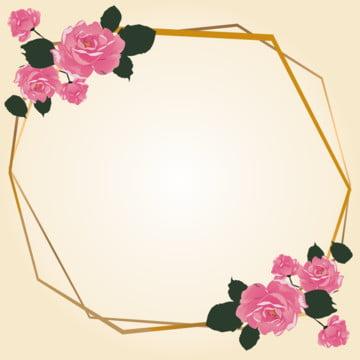 핑크 장미  금 상자 , 경계, 컬러, 꽃 배경 이미지