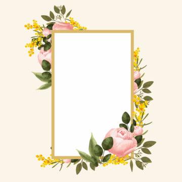 पानी के रंग का गुलाब के फूल के साथ सोने के फ्रेम , सीमाओं, रंगीन, पुष्प पृष्ठभूमि छवि