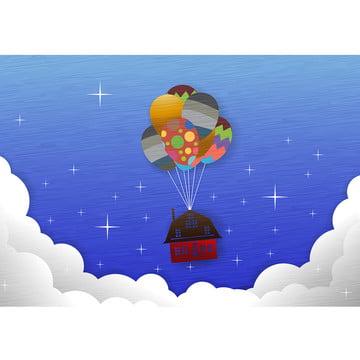 氣球房子的概念 , 房子, 家庭, 背景 背景圖片