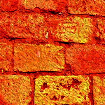 नारंगी ईंट पृष्ठभूमि बनावट के साथ एक पीले रंग की चमक , पृष्ठभूमि, ईंट, ईंटों पृष्ठभूमि छवि