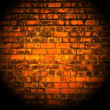parede de tijolo amarelo com holofotes brilhando sobre ele , Abstract, Fundo, Tijolo Imagem de fundo