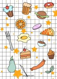 रंग विमान भोजन डूडल की पृष्ठभूमि , फ्लैट शैली, रंग, भित्तिचित्र पृष्ठभूमि छवि