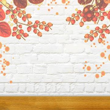 सफेद ईंट की दीवार के साथ शरद ऋतु फूलों की सजावट , ईंट, भूरे रंग का पत्ता, पुष्प पृष्ठभूमि छवि