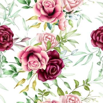 美しいシームレスなパターン水彩花の葉 , 配置, アート, アートワーク 背景画像