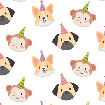 प्यारा जानवर के जन्मदिन पैटर्न वेक्टर , पशु, बच्चे, पृष्ठभूमि पृष्ठभूमि छवि