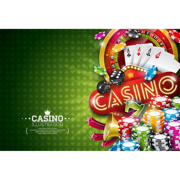casino illustration with roulette wheel and playing chips on gre , Casino, Gambling, Background Background image