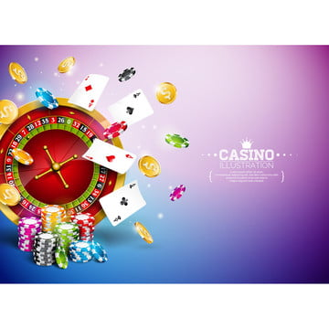 casino illustration with roulette wheel  falling gold coins and playing chips on blue background  vector gambling design with poker cards and dices for party poster  greeting card  invitation or promo banner , Casino, Gambling, Background Background image