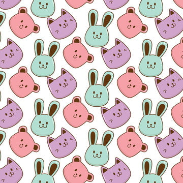 Cute Baby Animals Pattern Vector, Illustration, Cartoon, Vector, Background image