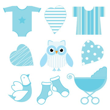 cute blue baby owl  baby tools  and love suitable for baby shower boy sticker set , Baby, Shower, Card Background image