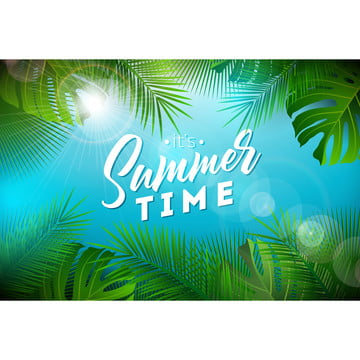 summer time illustration with typography letter and tropical plants on ocean blue background  vector holiday design with exotic palm leaves and phylodendron for banner  flyer  invitation  brochure  poster or greeting card , Summer, Flower, Background Background image