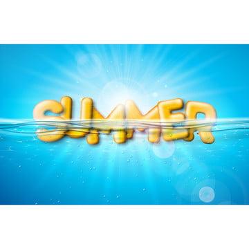 小册子 飛片 邀請 海報或賀卡 向量夏季插圖與水下藍海背景上的三維排版字母橫幅寫實的暑假度假設計 , 三維, 藝術, 背景 背景圖片