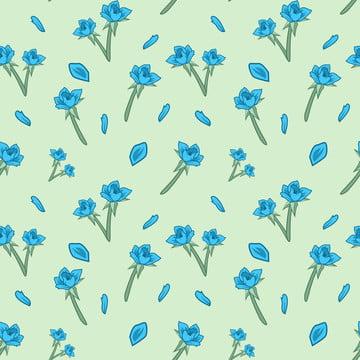 藍色玫瑰花朵簡單圖案無縫 , 環繞, 春天, 花卉 背景圖片