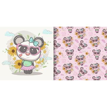 प्यारा कार्टून पांडा के साथ निर्बाध पैटर्न , आराध्य, पशु, कला पृष्ठभूमि छवि