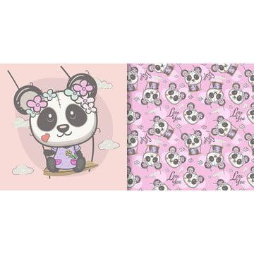प्यारा कार्टून पांडा के साथ निर्बाध पैटर्न आराध्य पशु कला पृष्ठभूमि छवि