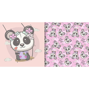 Cute Cartoon Panda Girl With Seamless Pattern, Cartoon, Nursery, Cute Pattern, Background image