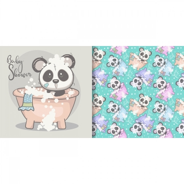 cute panda baby shower with seamless pattern , Greeting Card, Nursery, Postcard Background image