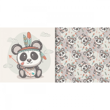 cute panda with feathers with seamless pattern , Greeting Card, Nursery, Postcard Background image