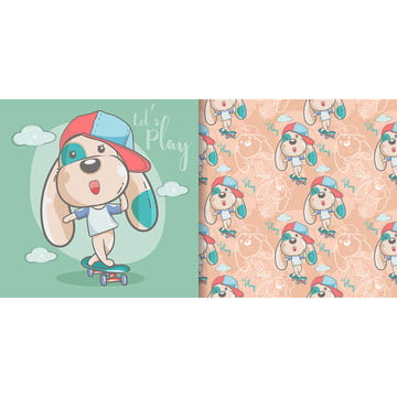 greeting card cute cartoon dog with seamless pattern , Cartoon, Nursery, Cute Pattern Background image