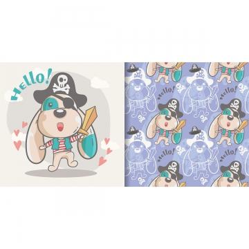 ग्रीटिंग कार्ड प्यारा कार्टून कुत्ते के साथ निर्बाध पैटर्न आराध्य पशु कला पृष्ठभूमि छवि