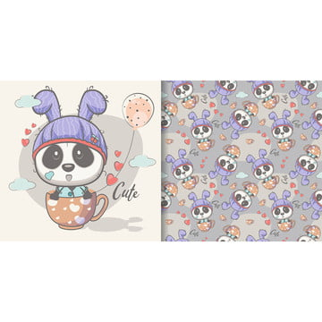 greeting card cute cartoon panda with seamless pattern , Greeting Card, Nursery, Postcard Background image