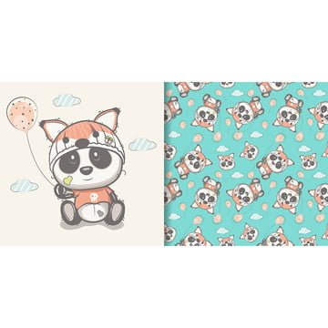 hand drawn cute panda with seamless pattern set , Pattern, Baby, Card Background image