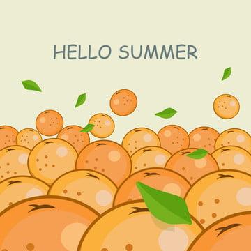 ハローサマーオレンジフルーツイラスト , 背景, 旗, ブライト 背景画像