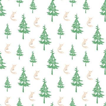 樹和狐狸手繪製無縫模式 , 打印, 素描, 木 背景圖片
