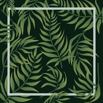 熱帶葉背景邊框 , 綠色, 葉, 熱帶 背景圖片