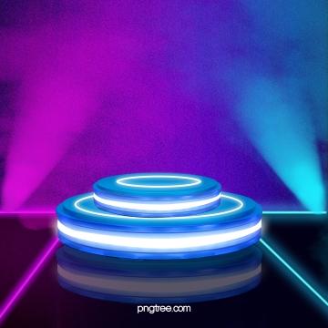 青い円柱の華やかな立体舞台 , 3 D, 光の効, 円柱 背景画像