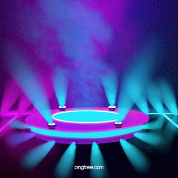 円形幾何学多彩立体効果ステージ , 灯をともす, 抽象的, 彩られる 背景画像