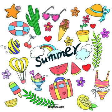 夏季休閒旅遊度假塗鴉 , 仙人掌, 休閒, 夏季 背景圖片