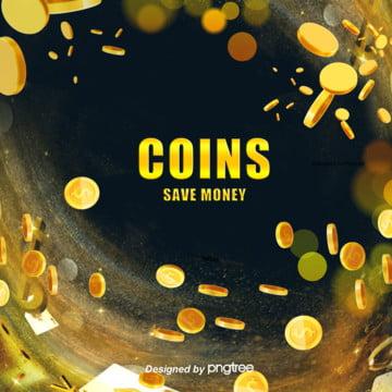 живописный стиль золотой блеск монеты темный фон , светиться, монета, золотой цвет Фоновый рисунок