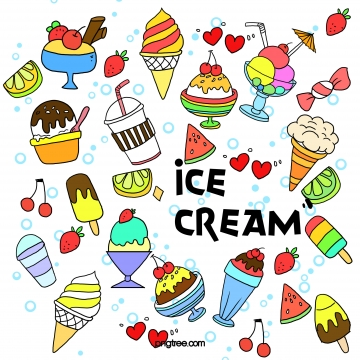 Summer Cartoon Ice Cream Beverage Graffiti, Ice Cream, Cartoon, Summer, Background image