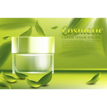 クリーム瓶化粧品 緑茶の葉の背景と , 広告, 広告, 広告 背景画像