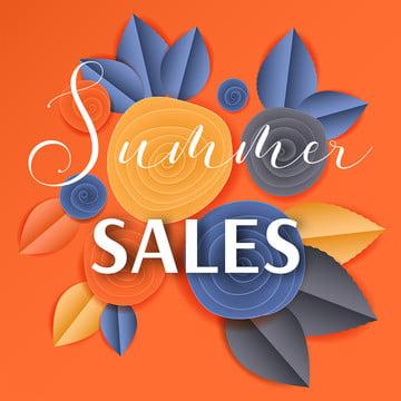 Cut Paper Floral Banner Summer Sales, Paper, Cut, Spiral, Background image