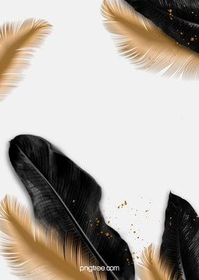 華やかな黒いパームゴールドの羽毛フレームの結婚式の背景 , 華やかな結婚式の背景, 結婚式, 結婚式の背景 背景画像