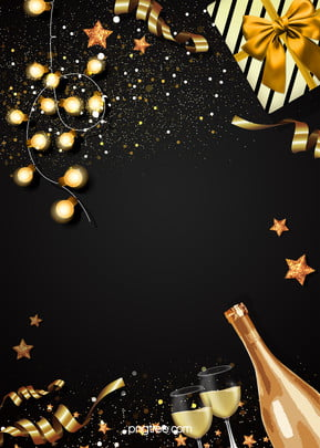 Background of Gift Box Champagne Black Gold Party , Extravagance, Coloured Lights, Party Background Background image