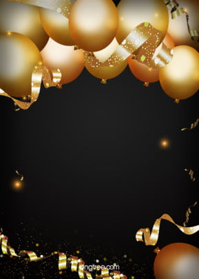 Golden Party on Black Background , Coloured Ribbon, Balloon, Party Background Background image