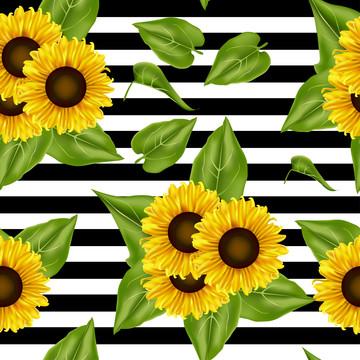 無縫圖案向日葵背景 , 摘要, 藝術, 藝術品 背景圖片