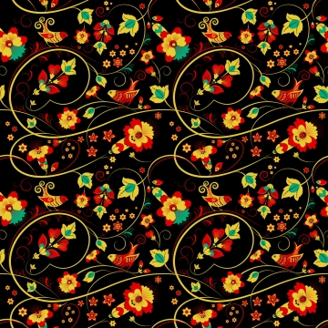 floral khokhloma seamless pattern with birds , Seamless Pattern, Khokhloma, Flower Background image