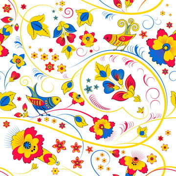 floral seamless pattern with birds , Seamless Pattern, Khokhloma, Flower Background image