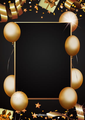 Golden Party Decorations Black Background , Extravagance, Coloured Ribbon, Balloon Background image