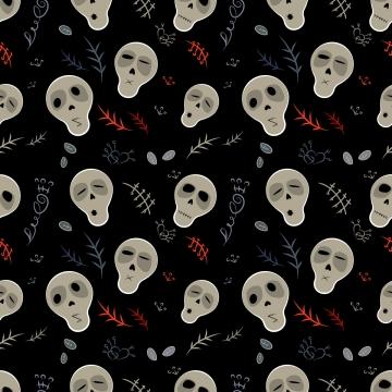 在黑色的無縫模式頭骨 , 矢量, 無縫模式, 頭骨 背景圖片